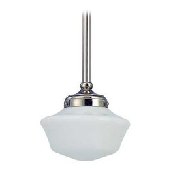 Design Classics Lighting - 8-Inch Schoolhouse Mini-Pendant Light Polished Nickel - FA4-15 / GA8 - Polished nickel finish mini-pendant light with Powellhurst schoolhouse opal white glass. Includes three 12-inch and one six-inch stem segments to allow for flexibility in height adjustment from a minimum of 16-1/2-inches to a maximum height of 52-1/2-inches. Takes (1) 150-watt incandescent A21 bulb(s). Bulb(s) sold separately. UL listed. Dry location rated.