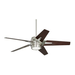 "Emerson - Emerson CF550DMBS 54"" Luxe Eco Outdoor Ceiling Fan - Wall Control and Light Kit - Emerson CF550DMBS Luxe Eco 54"" Luxe Eco Outdoor Ceiling Fan - Wall Control and Light Kit IncludedSleek modern lines punctuate the Luxe Eco. This smartly styled 54"" fan includes five stylish custom designed blades in a Dark Mahogany finish while the motor housing is Brushed Steel. A matching integrated light kit with attractive Opal Matte glass is included as well as a no-light plate usable if desired. Easily control this six speed fan with the included wall control with receiver (optional remote controls available). The powerful and quiet energy-efficient EcoMotor operates up to three times more efficiently than typical ceiling fan motors while the steeper blade pitch lets it move more air using less energy, making this an eco-conscious and savings-conscious choice. Let the Luxe Eco do its part in your home or office to save the environment while sacrificing neither style nor comfort.Emerson CF550DMBS Features:"