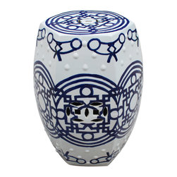 Belle & June - Blue & White Pattern of Lines Hexagonal Stool - White with bold blue lines, this stool has elements of modern and ancient Asian design wrapped into one beautiful handpainted piece of art.