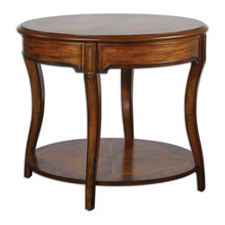 Uttermost - Corianne Round Lamp Table - Graceful legs, an intricate inlay of woods and a hand-rubbed pecan finish make this table a must-have in your space. The generous proportions can handle a substantial lamp and the addition of a bottom platform gives you plenty of room for books and magazines. You could even showcase picture frames or objets d'art.