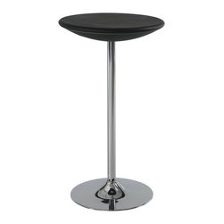 Global Furniture - Global Furniture USA M219BT Round Bar Table in Black with Chrome Base - Enhance the trendy contemporary look of your casual dining area with this chrome metal space saver bar that features a sleek tube leg and round black top. This piece can save space in smaller homes like an apartment or dorm room.