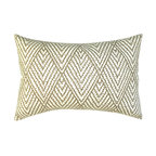 Geometric Ikat Decorative Pillow Cover - One decorative pillow cover made to fit a size 12x18 pillow insert. Tan, brown and ivory chevron ikat printed cotton. Same fabric on aligned both front and back with concealed bottom zipper. Pillow insert not included.