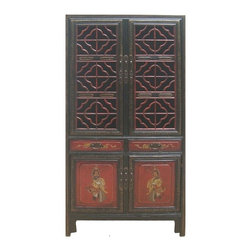 Golden Lotus - CaoZhou Antique Red Gold Opera Painting Kitchen Storage Cabinet - This is a CaoZhou antique kitchen cabinet which is made of solid elm wood.  Originally, it was used as storing dishes, chopsticks, bowls long time ago in China.  Right now, it can be used as storage cabinet to decorate your living room, bedroom and dinning room.