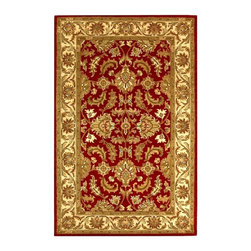 Safavieh - Red and Ivory Hand-Tufted Wool Rug - Choose Size: 2 ft. x 3 ft. Timeless and elegant with a classic floral design, this hand tufted wool area rug will be a stunning way to add color and style to your home's decor. Finished in red and ivory with sage green accents, the rug is available in a wide range of size and shape options, ensuring you'll find the right rug for any room of your home. Hand tufted. Made of Wool. Made in India. With rich, luscious detailing and a vibrant feel, Safavieh's heritage collection brings life to any space. Hand-tufted of pure wool with strong cotton backing, these traditionally beautiful rugs can withstand even the most highly traveled areas of your home.