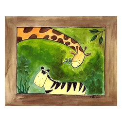 Oh How Cute Kids by Serena Bowman - Brown Giraffe and zebra, Ready To Hang Canvas Kid's Wall Decor, 8 X 10 - Every kid is unique and special in their own way so why shouldn't their wall decor be so as well! With our extensive selection of canvas wall art for kids, from princesses to spaceships and cowboys to travel girls, we'll help you find that perfect piece for your special one.  Or fill the entire room with our imaginative art, every canvas is part of a coordinating series, an easy way to provide a complete and unified look for any room.