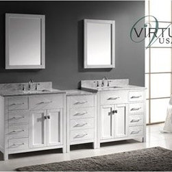 "Virtu USA - Virtu USA 93"" Caroline Parkway Double Bathroom Vanity with Italian Carrara White - Inspired by the Caroline, the Caroline Parkway vanity offers a clean sleek structure with abundant storage. The vanity is constructed from quality solid oak wood and finished in elegant white or espresso color. The Caroline Parkway also features an Italian Carrara white marble countertop and a matching backsplash. This vanity will be a great striking centerpiece to any bathroom design.Virtu USA has taken the initiative by changing the vanity industry and adding soft closing doors and drawers to their entire product line. By doing so, it will give their customers benefits ranging from safety, health, and the vanity's reliability.FeaturesMain Cabinet: 92.8"" W x 21.9"" D x 35"" HFramed Mirrors: 35.4""W x 34.6""H1 Inch Thick Italian Carrara White Marble CountertopWhite Cabinet FinishWater Resistant Low V.O.C SealerZero Emissions Solid Oak WoodAdjustable Hinges and Slides4 Doors with Soft Closing Hinges12 Drawers with Soft Closing Slides2 Concealed Dividing Storage ShelvesDesigner Brushed Nickel Handles with Chrome AccentDesigner Brushed Nickel Door KnobsUndermount Basins with OverflowStandard 8-inch Widespread Pre-Drilled HolesMinimal Assembly RequiredFaucets Sold SeparatelyHow to handle your counterView Spec Sheet"