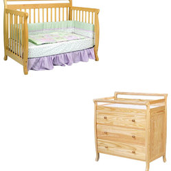 DaVinci Emily 4-in-1 Convertible Crib Nursery Set w/ Toddler Rail in Natural