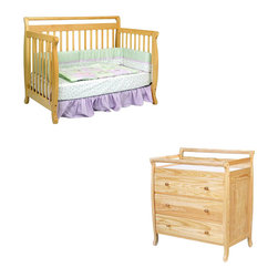 Da Vinci - DaVinci Emily 4-in-1 Convertible Crib Nursery Set w/ Toddler Rail in Natural - Da Vinci - Baby Crib Sets - M4791NM4755Npkg - DaVinci Emily 4-in-1 Convertible Crib Nursery Set w/ Toddler Rail in Natural