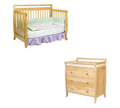 Da Vinci - DaVinci Emily 4-in-1 Convertible Crib Nursery Set w/ Toddler Rail in Natural - Da Vinci - Baby Crib Sets - M4791NM4755Npkg - DaVinci Emily 4-in-1 Convertible Crib Nursery Set w/ Toddler Rail in Natural