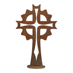 Z Garden Party, Inc. - Sun Cross Garden Art Sculpture - The Sun Cross Garden Art Sculpture is a great addition to any yard, patio or home. This design features a cross within a cross. It is hand made in the USA from heavy rusted steel. This is a design by California artist Susan Regert.