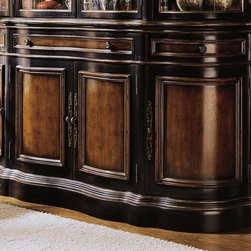 Hooker Furniture - Preston Ridge Buffet w 3 Drawers - Traditional style. Four doors. Four black finish knobs. Five levelers. Made from hardwood solids with cherry, mahogany and white ash burl veneers. Distinctive black rub-through with rich contrasting cherry finish. Inside center doors: 36.75 in. W x 18.38 in. D x 24.75 in. H. Height area measured clear of roller catches: 24.13 in.. Inside left side and right side doors: 21 in. L x 17.5 in. W x 24.88 in. H. Height area measured clear of roller catches: 24.13 in.. Center adjustable shelf: 36.69 in. L x 15.63 in. W. Adjustable shelf thickness: 0.75 in.. Shelf is adjustable three slots at 2 in.. Inside far side doors left and right side adjustable shelves: 21 in. L x 15.63 in. W. Center left side door: 18.63 in. L x 24.63 in. W. Left side door thickness: 2.5 in.. Center right side door: 18.13 in. L x 24.63 in. W. Right side door thickness: 2.5 in.. Far left side and right side doors: 20 in. W x 24.63 in. H. Door thickness: 4 in.. Center drawer inside: 34.75 in. W x 16 in. D x 4 in. H. Center drawer outside: 36.25 in. W x 17.13 in. D x 5.13 in. H. Swing out drawers inside: 16 in. W x 11.75 in. D x 4 in. H. Swing out drawers outside: 19.5 in. W x 13.13 in. D x 5 in. H. Overall: 72 in. W x 20.25 in. D x 38.25 in. H