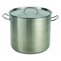 COOK PRO - 24 Quart Stainless Steel Stock Pot Heavy Duty Commercial Grade Stainless Steel - 24 Qt Professionally quality stainless steel lidded stock pot with 3.0mm encapsulated base for even heat distribution without hot spots. Stay cool riveted handles ensure quality and durability. Straight body with cut edge. Easy to clean. Heavy duty, designed for a lifetime.