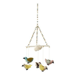 "Pehr - Sparrows Mobile By Pehr - Adorable sparrows flutter from the rim of a pom pom adorned ring with a cute little cloud above their heads. All are felted wool for a sweet earthy feel. This happy little mobile can hang anywhere in a nursery for a soft whimsical touch. (PD) 9"" wide x 28"" high"