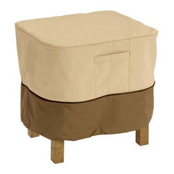 Home Decorators Collection - Veranda Patio Square Ottoman Table Cover - Our Veranda Patio Square Ottoman Table Cover protects ottomans and side tables against weather damage and dirt. Featuring click-close straps that lock around the legs to secure the cover on windy days and handles for easy fitting and removal. Heavy-duty Gardelle protective fabric system won't crack in cold weather. Adjustable elastic hem cord for a tight and custom fit. Three-year warranty.