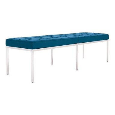 Knoll - Florence Knoll Bench   Design Within Reach - This tufted leather bench in aqua is both sophisticated and practical. Bench seating is always welcome, but I love that it also brings some cheer with with its vibrant blue color.