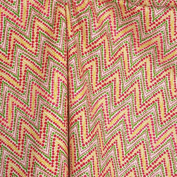 Waverly - Trend Spotter Punch Waverly Fabric - Trend Spotter Punch drapery fabric by Waverly.  Pink, green and gold polka dots create a zig-zag chevron pattern.  This fun fabric would be great in a girls room.  Uses for this fabric include draperies, curtains, panels, valances, scarves, swags, pillows, bedding, lightweight upholstery.  Fabric is sold by the continous yard.