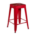 Linon - Linon Red Square Metal Backless Counter Stool - Set of 2 - 03241RED-02-AS-U - Shop for Stepstool from Hayneedle.com! The red-hot Linon Red Square 24 in. Metal Backless Counter Stool - Set of 2 comes with two hot seats for any room in your house. Crafted with durable heavy-duty metal frames in a glossy red finish these two classic stools have angled legs foot rails flat seats and a convenient stackable design so you can store them in easily in small spaces. Please note: This item is not intended for commercial use. Warranty applies to residential use only. About Linon Home Decor Products IncWith a strong sense for excellent quality and design of household furnishings at affordable price points Linon Home Decor Products Inc. has established a valuable and well-known reputation throughout the market. Offering a large selection of reasonably priced home furnishings for every room and a commitment to quality design and service has made Linon is one of the fastest growing companies in the industry.
