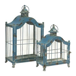 Jordan Lanterns - Set of 2 - With antiqued blue finish, our Jordan Lanterns are expertly crafted from iron and exude a classic charm. Add the ambiance of candlelight with these handsome accents.