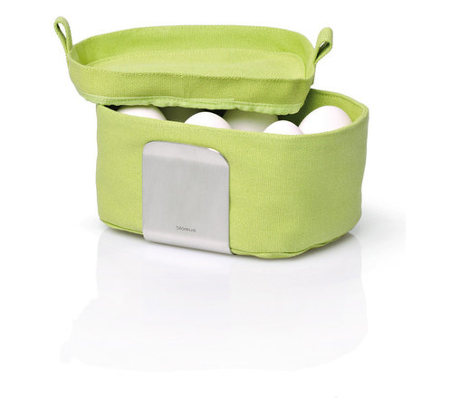 Blomus - Desa Egg Basket Organizer Neutral Colors - Green - You're a good egg. So, if everyone in your family wants a soft-boiled egg (or two) you'll stand in the kitchen all morning, shuttling warmed eggs to the table on demand. No problem. On the other hand, having a multiegg warmer might be a simpler solution, keeping everyone happy and you from cracking.