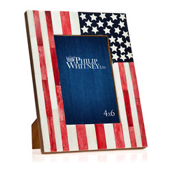 "Philip Whitney - USA Flag Bone Frame, 4""x6"" - Display your favorite photos using the patriotic 4-by-6 inch USA Flag Bone Frame. Featuring an American flag on distressed wood, this red, white and blue frame has a bright, bold look that complements eclectic decor. Its slightly faded paint gives it a vintage feel."