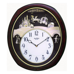 """Rhythm Clocks - 16.25"""" x 4"""" Princess Fantasy Musical Clock - As you watch the relaxing motion of the pendulum, this magical clock will whisk you away to the ball on a crystal coach fit for a princess. Enjoy the enchanting harmony of one of 30 melodies played on the hour. Frame is a faux burl wood. Quartz clock is battery operated."""