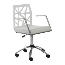 Eurostyle - Sophia Office Chair-White/Chrome/White - Need an inspiring workspace? Start with a new office chair that's as creative as you. This chair has an intriguing cutout back and a cushioned faux leather seat that will keep you comfortable as you dream up your next big idea.