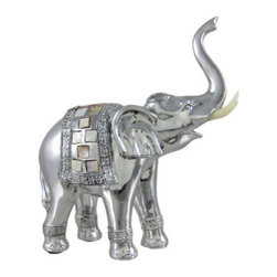 Abstract Silver Finish Elephant Statue Sculpture MOP - This stunning sandstone finished statue is of an abstract elephant, trunk raised high. The statue measures 7 3/4 inches high, 6 3/4 inches across and 3 inches wide. Made of cold cast resin, it has a shiny chrome metallic finish, with mosaic mother of pearl tile insets on the blanket on its back. This statue is brand new, and makes a wonderful present to anyone who collects elephants. We have a limited supply of these, so get yours now!