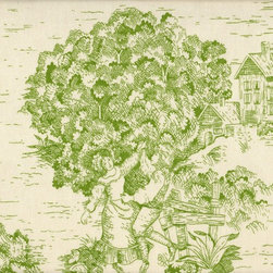 "Close to Custom Linens - 15"" King Bedskirt Tailored Apple Green Toile - A charming traditional toile print in apple green on a cream background. Straight, tailored style with two pleats on each side, split corners and a 15"" drop. Cotton/poly platform."
