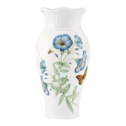 Lenox - Lenox Butterfly Meadow Medium Vase - This Butterfly Meadow decorative vase by Lenox complements virtually any floral arrangement, adding elegant style to your surroundings. This porcelain piece's lovely design and scalloped edges ensure this vase will be a treasured heirloom.