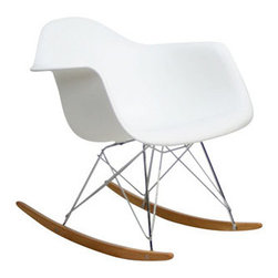 LexMod - Rocker Lounge Chair in White - During my pregnancy, I searched high and low for a small-scale and affordable rocker. This Eames-inspired chair was the perfect find! And now that the baby is here, I find myself toting this guy room to room with us.