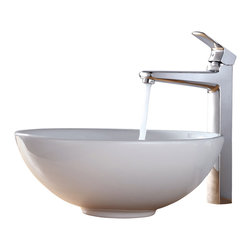 Kraus - Kraus White Round Ceramic Sink and Virtus Faucet Chrome - *Add a touch of elegance to your bathroom with a ceramic sink combo from Kraus