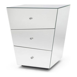 Zuri Furniture - Vailan 3 Drawers Mirrored Modern Night Stand - The exquisite lines of our Vailan Collection tantalize and mesmerize, making this sophisticated mirrored nightstand shine in an otherworldly light. So versatile in design, the Vailan pairs perfectly with leather and wooden beds alike.
