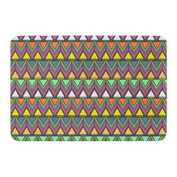 """KESS InHouse - Nandita Singh """"Pattern Play"""" Rainbow Chevron Memory Foam Bath Mat (17"""" x 24"""") - These super absorbent bath mats will add comfort and style to your bathroom. These memory foam mats will feel like you are in a spa every time you step out of the shower. Available in two sizes, 17"""" x 24"""" and 24"""" x 36"""", with a .5"""" thickness and non skid backing, these will fit every style of bathroom. Add comfort like never before in front of your vanity, sink, bathtub, shower or even laundry room. Machine wash cold, gentle cycle, tumble dry low or lay flat to dry. Printed on single side."""