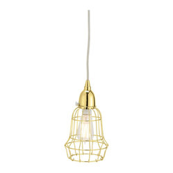 Gold Wire Barrel Pendant Light