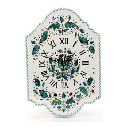 Artistica - Hand Made in Italy - Orvieto: Wall Clock - Orvieto Collection: This is a very old and traditional pattern that originated during the Renaissance in the hill-top town of Orvieto - Italy.