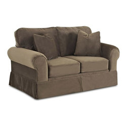 Klaussner - 65 in. Loveseat in Chocolate - Woodwin sofa collection with its signature blend of quality, value and style.