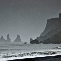 PrintedArt - Storm over Reynisdrangar rock pillars - Print is made with archival pigment inks for best color saturation and contrast with a 75-year guarantee against fading or discoloring. Mounted on light-weight but rigid aluminum dibond board to create a float-on-the-wall piece of art. Also available face-mounted with acrylic.