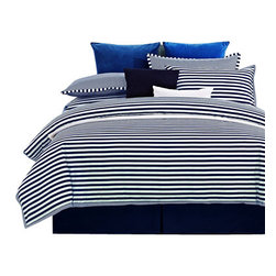 300 Thread Count Keystone Duvet Cover Set - Full/Queen - This contemporary style duvet cover brings a modern look to any bedroom. Featuring navy blue stripes on white this duvet cover creates a minimalist style appearance and is especially recommended for those looking for a new look for their bedroom.