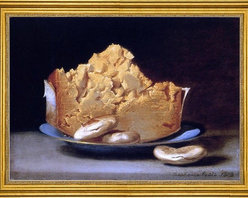 "Raphaelle Peale-16""x24"" Framed Canvas - 16"" x 24"" Raphaelle Peale Cheese and Three Crackers framed premium canvas print reproduced to meet museum quality standards. Our museum quality canvas prints are produced using high-precision print technology for a more accurate reproduction printed on high quality canvas with fade-resistant, archival inks. Our progressive business model allows us to offer works of art to you at the best wholesale pricing, significantly less than art gallery prices, affordable to all. This artwork is hand stretched onto wooden stretcher bars, then mounted into our 3"" wide gold finish frame with black panel by one of our expert framers. Our framed canvas print comes with hardware, ready to hang on your wall.  We present a comprehensive collection of exceptional canvas art reproductions by Raphaelle Peale."