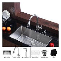 Kraus - Kraus 32 inch Undermount Single Bowl Stainless Steel Kitchen Sink with Kitchen F - *Add an elegant touch to your kitchen with unique Kraus kitchen combo