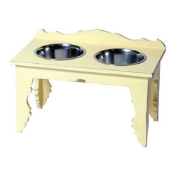 """Large """"Shabby Chic"""" Elevated Dog Feeder - From cottage to castle, shabby chic distressed furniture creates a casual, yet comfortably elegant home. We expect you to be dazzled by the color palette and the intricate woodwork of this adorable Shabby Chic pet diner. Created of solid Mango hardwood each unique piece is carefully distressed by using a multi-step finishing process to achieve the look of an aged antique."""