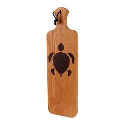 Kentucky Cutting Boards - Artisan Bread Board with Sea Turtle inlay - Beautiful bread deserves an equally elegant breadboard. Featuring a charming inlaid sea turtle, this solid hickory board is the perfect shape for bakery baguettes and homemade loaves alike. Whether you serve delicious Hawaiian sweet bread, or sourdough hot out of the oven, this board looks as great as as fresh bread tastes.