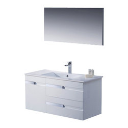 Adornus - Adornus YASMINE-40-HGW-C High Gloss White Vanity - * All Wood Vanity in High Gloss White and Wenge