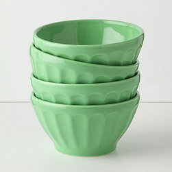 Latte Bowls, Set of 4 - These latte bowls are such a pretty shade of green, almost jade like. They're perfect for all of your summer entertaining events.