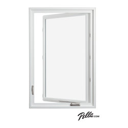 Pella® 350 Series vinyl casement window with satin nickel hardware - Energy-efficient Pella® 350 Series vinyl casement windows feature a handy fold-away handle available in six different hardware finishes, including satin nickel.