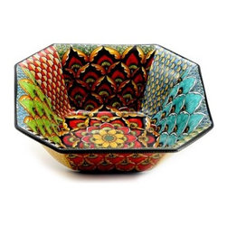 Artistica - Hand Made in Italy - Geribi: Octagonal Bowl - Fully Decorated In-Out - Geribi Collection: