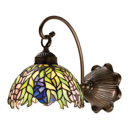 """Meyda Tiffany - 8""""W Tiffany Honey Locust Wall Sconce - The Honey Locust was popular floral design created by Louis Comfort Tiffany, more than a century ago. Decorative dome-shaped stained glass shades, with petal shaped edges depict clusters of Plum and Periwinkle flowers amid Spring Green leaves cascading towards the base. This one light wall sconce has complementary decorative hardware featuring our Mahogany Bronze finish."""