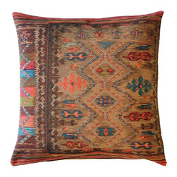Pillow Decor Ltd. - Kilim Hearth Tapestry Throw Pillow - Pillow talk. This Jacquard-woven tapestry kilim pillow will liven up your space in an instant with its rich colors and elaborate designs. Rendered in warm, earthy tones, it plays nicely with your furnishings.