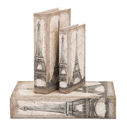 """Imax - Eiffel Tower Travel Book Boxes - Set of 3 - *Dimensions: 1.25-2-3""""h x 5.75-6.75-8.75""""w x 8.50-10.25-13"""""""