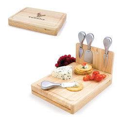 Picnic Time - Houston Texans Asiago Folding Cutting Board With Tools in Natural Wood - The Asiago is a folding cutting board with tools that is another Picnic Time original design. This compact, fully-contained split-level cutting board is made of eco-friendly rubberwood. Lift up the top level of the board to reveal four brushed stainless steel cheese tools: a pointed-tipped cheese knife, cheese fork, cheese chisel knife, and blunt nosed hard cheese knife. The tools are magnetically secured to a wooden strip that lifts up so you can close the cutting board and display the tools. Designed with convenience in mind, the Asiago is great for home or anywhere the party takes you.; Decoration: Engraved; Includes: 4 brushed stainless steel cheese tools (1 pointed-tipped hard cheese knife, cheese fork, cheese chisel knife, and blunt nosed soft cheese knife